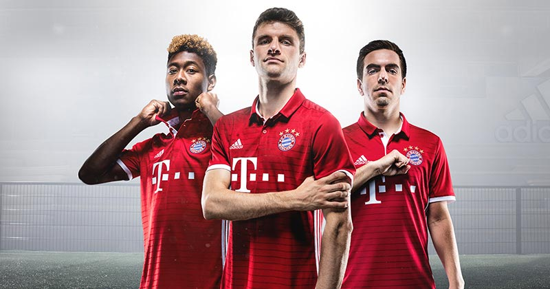 Image of the new adidas and FC Bayern Munich Home Shirt featuring David Alaba, Thomas Muller and Philipp Lahm